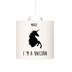 Suspension I'm a unicorn  noir personnalisable