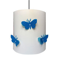 Suspension papillons 3D liberty Pois bleu clair aile bleu