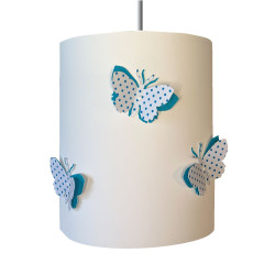Suspension papillons 3D liberty Pois bleu