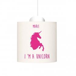 Suspension I'm a unicorn rose vif personnalisable