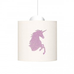 Suspension tête de licorne pailletée rose pale personnalisable