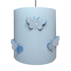 Suspension papillons 3D vichy bleu