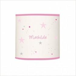 Suspension étoiles magiques roses et grises cylindrique