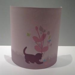 Suspension enfant chaton rose