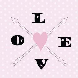 Tableau flèches LOVE rose et noir fond rose à pois blancs