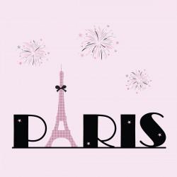 Tableau Tour Eiffel rose et noir fond rose