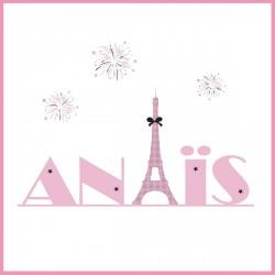 Tableau prénom Tour Eiffel rose fond blanc