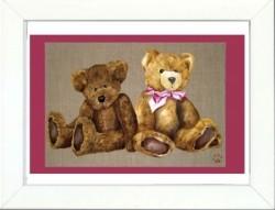 Tableau enfant encadré deux ours assis