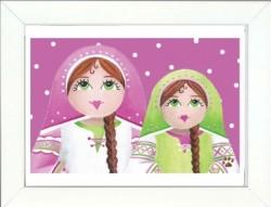 Tableau enfant encadré deux poupées russes