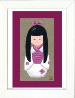 Tableau enfant encadré kokeshi cheveux long