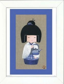Tableau enfant encadré kokeshi fille au thé