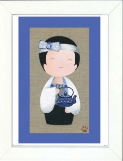 Tableau enfant encadré kokeshi garçon au thé