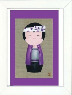 Tableau enfant encadré kokeshi garçon violet