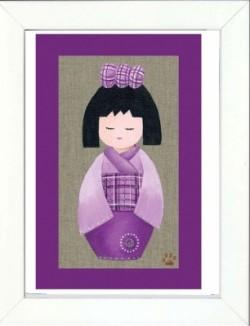 Tableau enfant encadré kokeshi kimono mauve