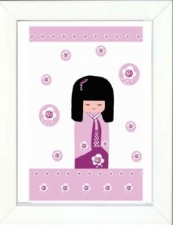 Tableau enfant encadré kokeshi rose