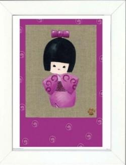 Tableau enfant encadré kokeshi rose avec noeud dans les cheveux