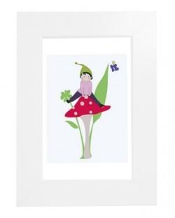 Tableau enfant encadré Lutin à cheval sur son champignon magique