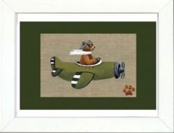 Tableau enfant encadré ours en avion vert