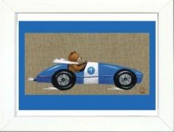 Tableau enfant encadré ours en voiture bleue