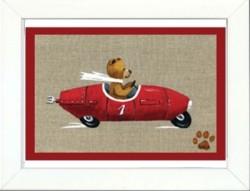 Tableau enfant encadré ours en voiture rouge