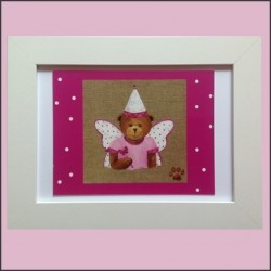 Tableau enfant encadré ours fée papillon