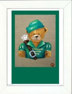 Tableau enfant encadré ours robin des bois