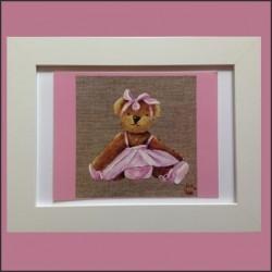 Tableau enfant encadré ours rose poupette
