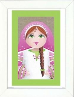 Tableau enfant encadré portrait poupée russe