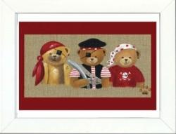Tableau enfant encadré trois ours pirates