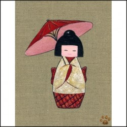 Tableau kokeshi a l'ombrelle