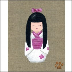 Tableau kokeshi au cheveux longs