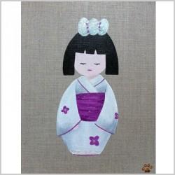 Tableau kokeshi au kimono blanc à fleurs