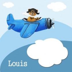 Tableau ours en avion bleu dans les nuages