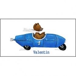 Tableau ours en voiture bleue
