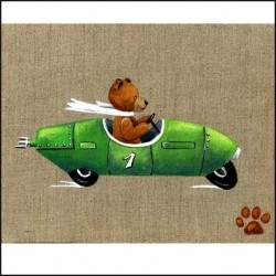 Tableau ours Enzo voiture verte