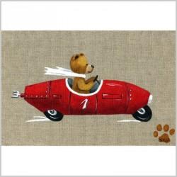 Tableau ours garçon en voiture rouge