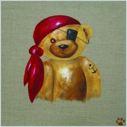 Tableau ours garçon pirate au foulard rouge