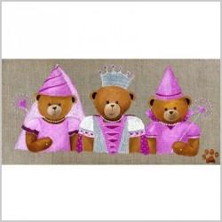 Tableau ours les fées triplées roses