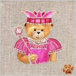 Tableau ours princesse rose
