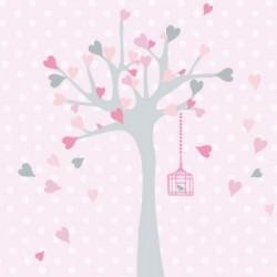 Tableau personnalisable arbre à coeurs rose