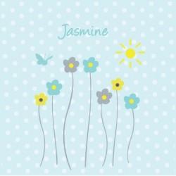 Tableau personnalisable fleurs de printemps bleu
