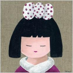 Tableau portrait de kokeshi fille