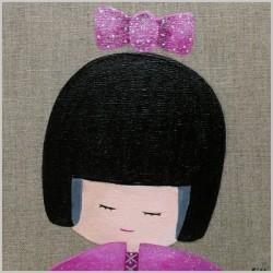 Tableau tête de kokeshi rose