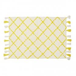 Tapis en coton motifs triangulaires Tanger jaune