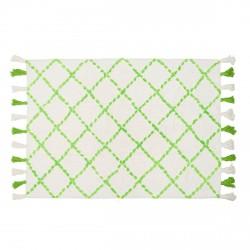 Tapis en coton motifs triangulaires Tanger vert