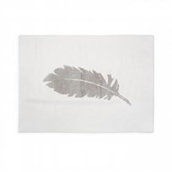 Tapis enfant coton blanc plume grise