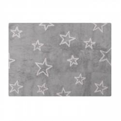 Tapis enfant coton étoiles Esterella gris et rose