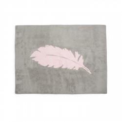 Tapis enfant coton gris plume rose