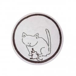 Tapis enfant coton rond chat et souris