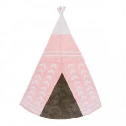 Tapis enfant coton en forme de tipi rose